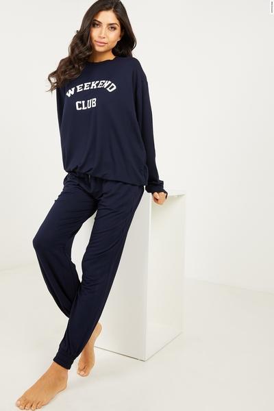 Navy 'Weekend Club' Sweater Set